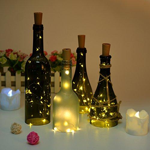 Bottle Light AGPtek 2 Set 3 Packs of Cork Shape Lighting 30in Copper Wire light Starry Light for ChristmasWeddingPartyHalloweenDecoration - Warm White