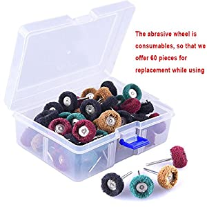 AUSTOR 60 Pieces 1 inch Abrasive Wheel Buffing Polishing Wheel Set 4 Grits Polishing Wheel with Free Box for Dremel Rotary Tool