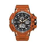 Waterproof Sport Watch for Men Shockproof Multifunctional Women Sport Wrist Watch LED Luminescence Electronic Quartz Movement Military Digital Watch for Boys, Orange