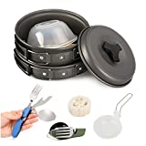 Aoduoer 11 Piece Hiking Backpacking Picnic Camping Cookware - compact, Lightweight & Durable Outdoor Cooking Pot Pan Set
