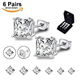 Anni Coco 18k White Gold Plated Stainless Steel Square Princess Cut Clear CZ Cubic Zirconia Stud Earrings Set, 3mm-8mm 6 Pairs