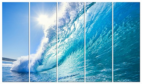 Wieco Art Canvas Prints Wall Art Sea Waves Pictures Paintings Ready to Hang for Living Room Bedroom Home Office Decor Extra Large Modern Gallery Wrapped Giclee Seascape Beach Photo Artwork XL, 5pcs