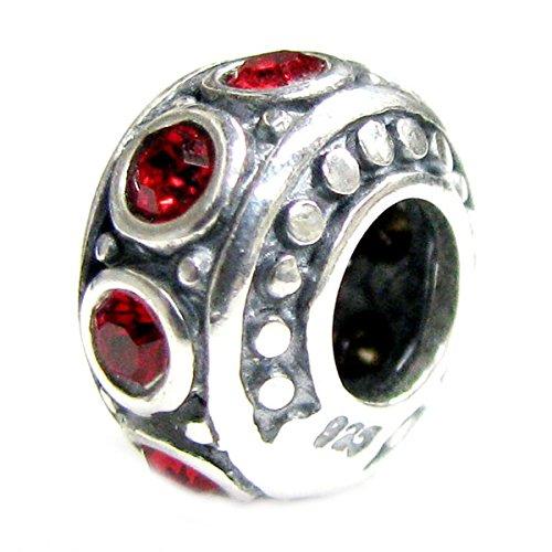 Siam Sterling Bracelet (Queenberry Birthstone July Sterling Silver Light Siam Red Cz Crystal Bead For Pandora Troll European Charm Bracelet 11mm)
