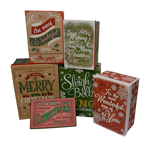 Christmas Gift Boxes Nested with lids, Decorative Holiday Prints in Assorted Small Medium and Large Sizes and Colors (Christmas Kraft,