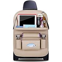 Ergocar Organiseurs pour Voiture Kick Mats cuir PU de luxe Protecteur de Siège Arrière avec porte-tablette pliable Imperméable Organisateurs de Voiture Rangement