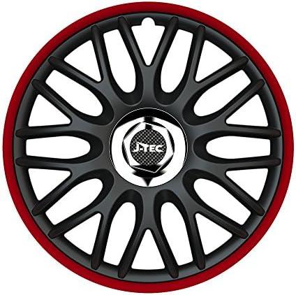 CM DESIGN 14 Zoll Radzierblenden Orden ROT (R) (Schwarz & Aussenring Rot). Radkappen passend für Fast alle VW Volkswagen wie z.B. Golf 2 19E!