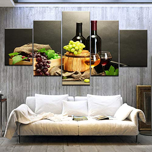 wbdfcb Non-Woven Canvas Print Canvas Pictures HD Prints Kitchen Decor 5 Pieces Grape Wine Bottle Paintings Fruit and Cup Poster Restaurant Wall Art Framework