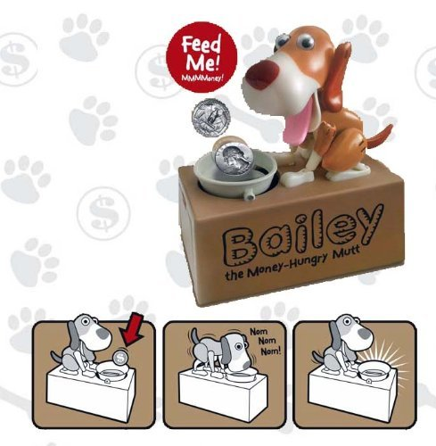 Dog Mechanical Piggy Bank- Watch Him Eat Your Coins! - Colors May (Puppy Coin Bank)