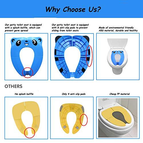 Amarillo Asiento Inodoro Ni/ños Material PP con 4 Almohadillas de Silicona Antideslizantes y 1 Bolsa de Transporte Evita la Propagaci/ón de G/érmenes Pejoye Reductor WC Plegable Azul