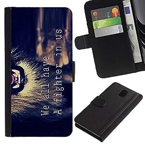 Billetera de Cuero Caso Titular de la tarjeta Carcasa Funda para Samsung Galaxy Note 3 III N9000 N9002 N9005 / motivational fighter lion text quote / STRONG