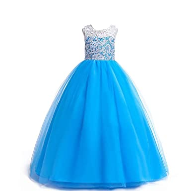 e5833928600 Amazon.com  Girls Lace Pageant Party Dress Wedding Flower Girl Maxi ...