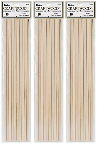 Photo Booth Sticks (3-Pack - Dowel Rod - Wood - 1/4 x 12 inches - 10 pieces per pack (30 Total)