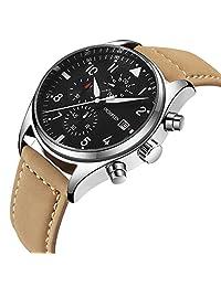 Men's Watch,Men's Luxury Bussiness Wrist Watch,Waterproof,Multiuntion,LED Light,Calftskin Leather Band (brown)
