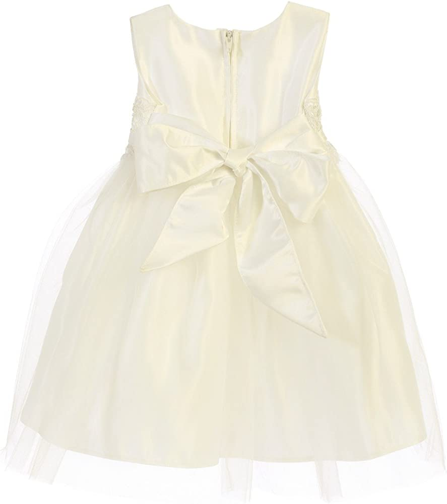 Sweet Kids Baby Girls Ivory Satin Lace Bow Tulle Flower Girl Dress 6-24M