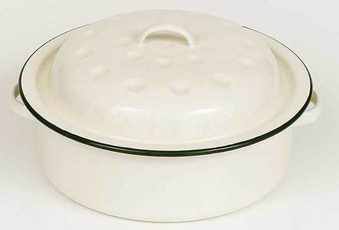 Estilo de la vendimia redonda de metal esmaltado oval fuente para ...
