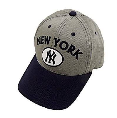 MLB New York Yankees Gray Oval Blue Brim Cap, Navy, One Size from donegal bay licensed sporting goods