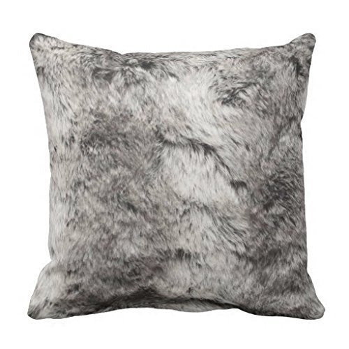 Shower Curtain ivi Home Pillow Cases Faux Chinchilla Gray and White Fur Print Throw Pillow Case