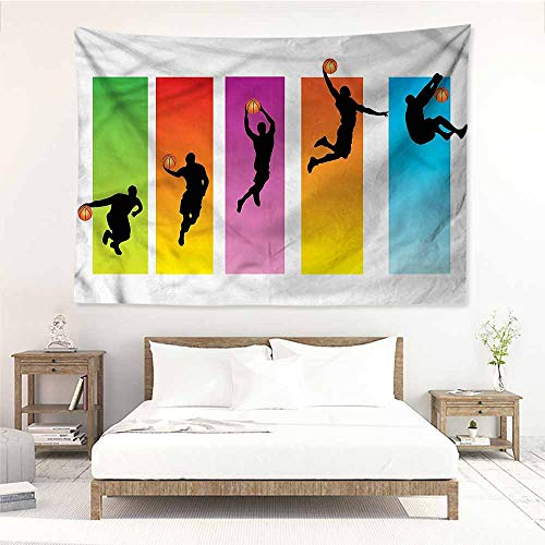 Sunnyhome Simple Tapestry,Sports Basketball Slam Dunk Move,Occlusion Cloth Painting,W80x60L
