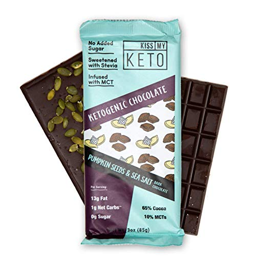 Kiss My Keto Low Carb Keto Chocolate, Pumpkin Seeds with Sea Salt Keto Snack (4x 3oz bars) Sweet Treat with MCT Oil for Ketogenic Diet Support Sugar-Free, Keto Friendly Foods No Artificial Ingredients
