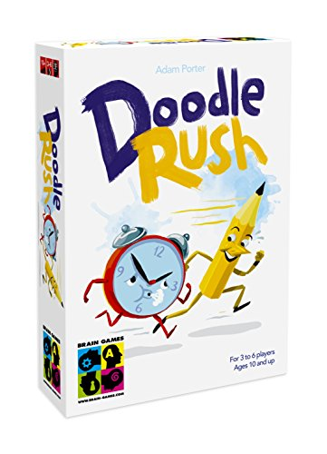 BRAIN GAMES Doodle Rush Party Drawing and Guessing Board Game - A Fast and Fun Family Board Game - Play with Kids, Teenagers and Adults -
