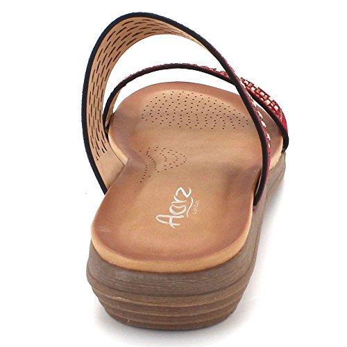 Size Open AARZ Shoes Maroon Comfort Toe Wedge Womens LONDON Summer Evening Diamante Casual Lightweight Ladies Sandals w66BIcxqr