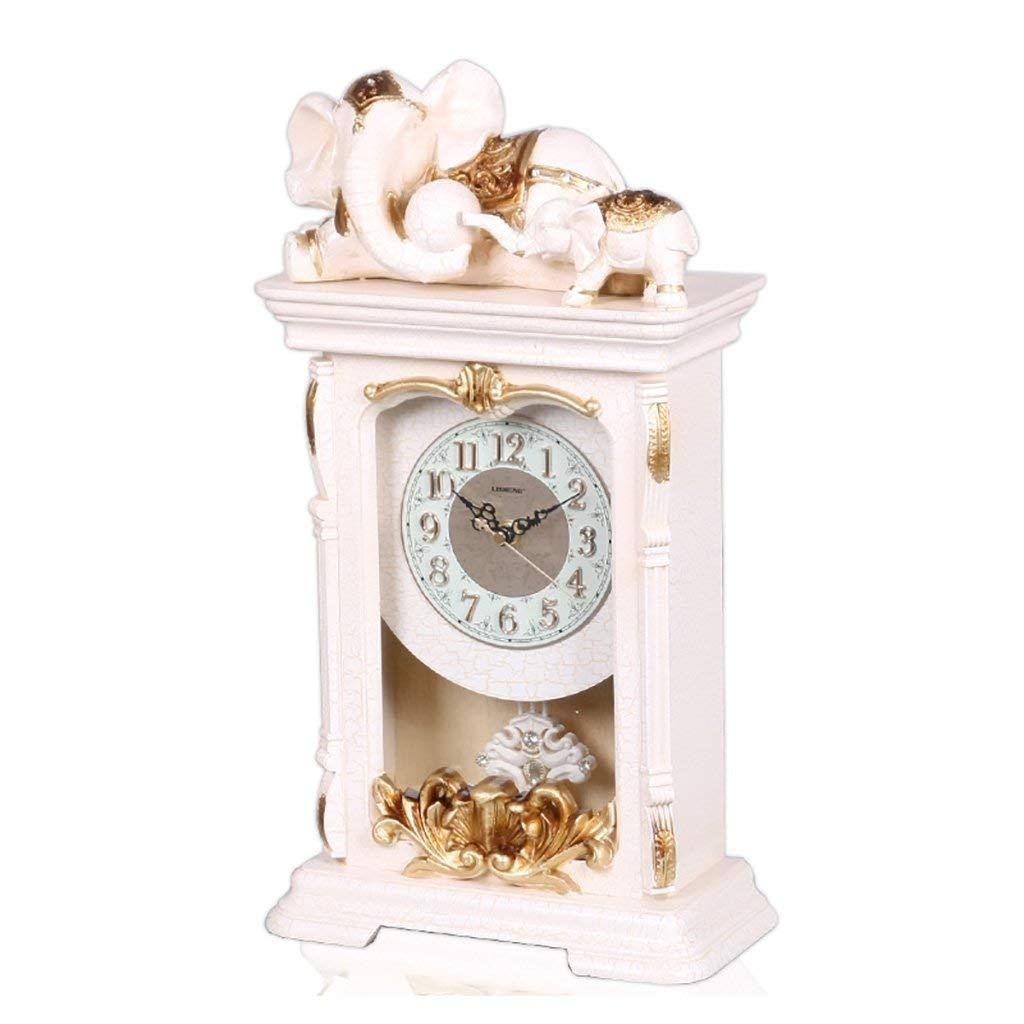 デスククロックファミリークロックレトロな置時計、樹脂の刻み目のない装飾的なベッドルームのベッドサイド24.7 x 11.3 x 45 cmリビングルームのベッドルームに最適オフィス(色:薄黄色) B07THSJ7T7 Light Yellow