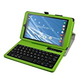 "Insignia NS-P08A7100 Bluetooth Keyboard Case,Mama Mouth Slim Stand PU Leather Case Cover With Romovable Bluetooth Keyboard For 8"" Insignia Flex NS-P08A7100 Andriod 6.0 Tablet 2016,Green"