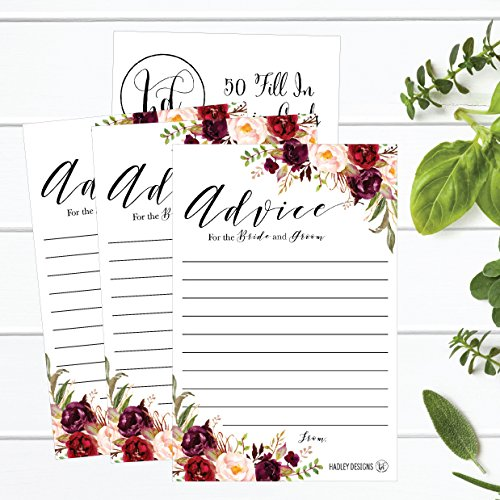 50 4x6 Floral Wedding Advice & Well Wishes For The Bride and Groom Cards, Reception Wishing Guest Book Alternative, Bridal Shower Games Note Card Marriage Advice Bride To Be, Best Wishes For Mr & Mrs Photo #2