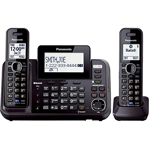 PANASONIC Link2Cell Cordless Phone Bluetooth Enabled with Answering Machine and 2 Phone lines - 2 Cordless Handsets - KX-TG9542B (Black) - Panasonic Blue Telephone
