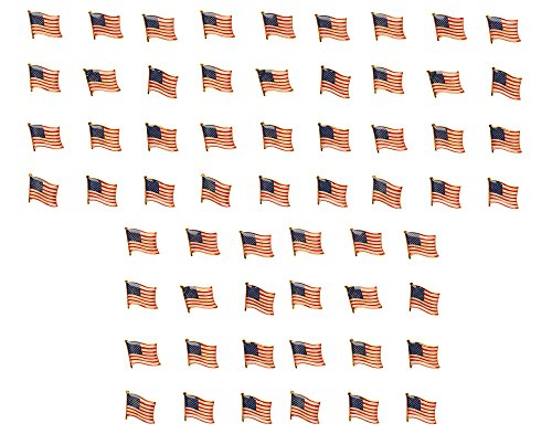 American Flag Lapel Pins - 60-Pack USA Enamel Pins, Patriotic US Flag Pins for National Days Celebrations and Daily Outfits, 0.7 x 0.38 x 0.6 Inches