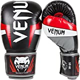 Venum Elite Boxing Gloves, Black/Red/Grey, 16-Ounce