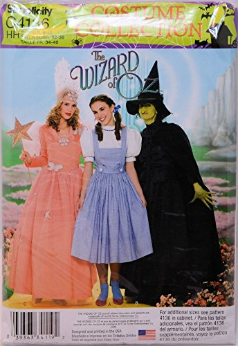 Dorothy Wizard Of Oz Costume Pattern (Simplicity Sewing Pattern C4136 4136 Misses Sizes 6-12 Wizard of Oz Dorothy Bad Good Witch Costumes)