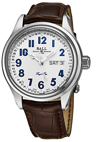 - Ball Men's NM1058D-LL9J-WH 'Trainmaster' White Dial Brown Leather Strap Day Date Royal Blue Limited Edition Swiss Automatic Watch
