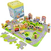 Blockopolis Little Wooden People City Play Set, 100-piece Building Blocks & Jumbo Floor Jigsaw Puzzle by Imagination Generation