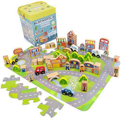 Blockopolis Little Wooden People City Play Set, 100-piece Building Blocks & Jumbo Floor Jigsaw Puzzle by Imagination Generation - Imagination Village