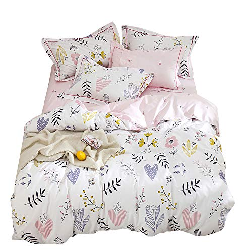 HIGHBUY Floral Print Girls Duvet Cover Set Queen Kids White Pink Premium Cotton Colorful Flower Bedding Sets Full for Teens Women Reversible Comforter Cover Soft Branches Bedding Collection Full Pink