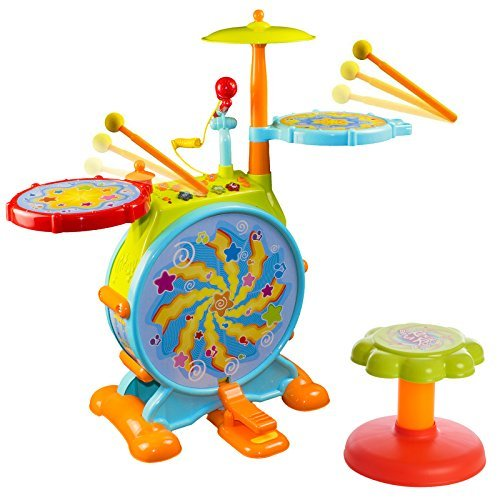 Toy Drum Sets Kids - Huile Electric Toy Jazz Drum Set for Kids Musical Instrument Playset with Microphone and Chair