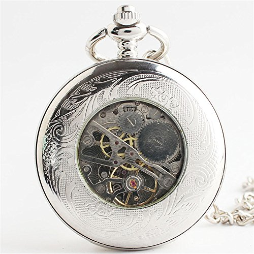 Zxcvlina Classic Smooth Unisex Pocket Watch Silvery Carved Retro Mechanical Pocket Watch with Chain Suitable for Gift Giving by Zxcvlina (Image #1)