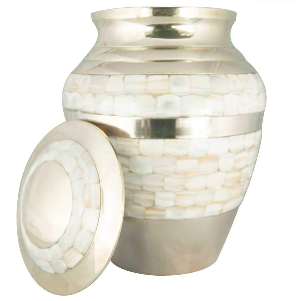 Cremation Urns for Human Ashes Adult, Funeral Urn for Women – Handcrafted in Brass – Display Burial at Home or in Niche at Columbarium Mother of Pearl Golden, Large Metal Urn for Ashes Adult