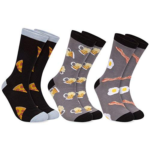 3-Pair Mens Novelty Socks - Funny Socks with Printed Beer, Bacon and Eggs, Pizza Graphics, Fits Shoe Size US 7-11