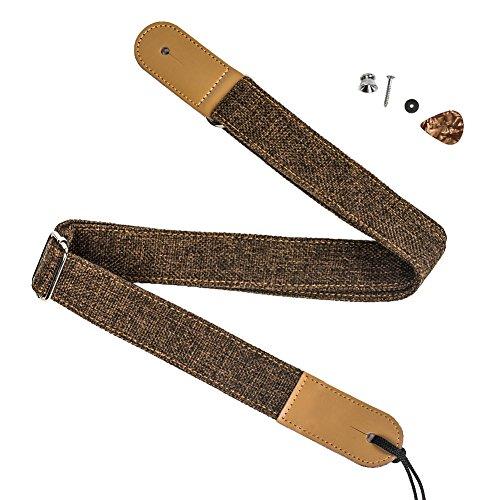 (ZEALUX Ukulele Strap Comfortable Cotton Linen & Leather Adjustable Uke Shoulder Strap Suit For All Ukulele & Little Gruitar (Dark Brown))