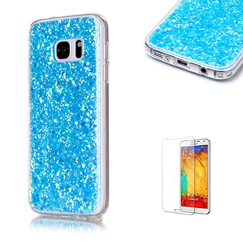 For Samsung Galaxy S7 Case with Free Screen Protector.Funyye Luxury Fashion Bling Glitter Paillette Flexible Soft Rubber Gel TPU Protective Case for Samsung Galaxy S7 -Blue