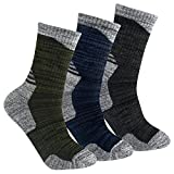 YUEDGE 3 Pairs Men's Cushion Crew Socks Outdoor Recreation Performance Trekking Climbing Camping Hiking Socks (XL)