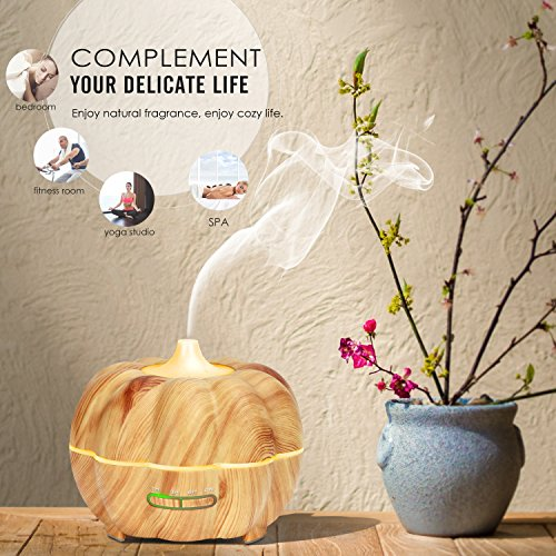MoKo 300ML Ultrasonic Air Humidifier, Pumpkin Aromatherapy Essential Oil Diffuser with Warm White Night Light Waterless Auto-Off for Office Home Bedroom Room Study Yoga Spa - Wood Color by MoKo (Image #3)