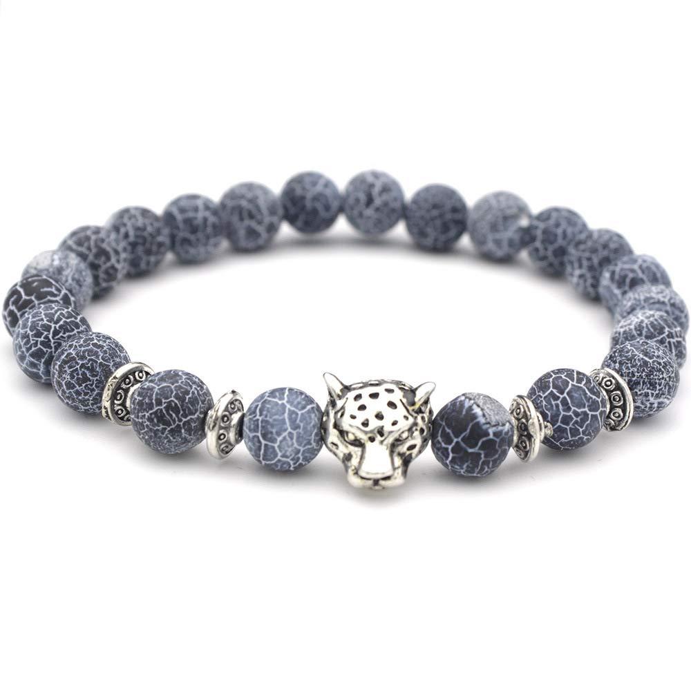 8mm Lava Rock Natural Stone Bracelet Agate Panther Charm Bracelet Bangle for Men Women (Silver)