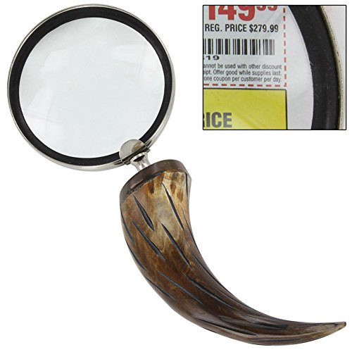 - Natural Carved Cow Horn Executive Magnify Glass Desk Accessory