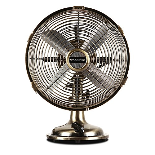 ZR- Retro Metal Fan Bronze Fan Table Fan Nostalgic Desktop Compact Fan 25/25/33W (Color : (Retro Fan Heater)