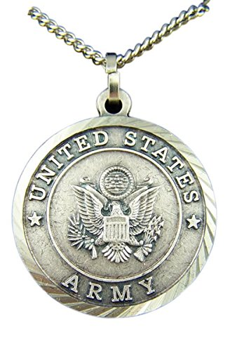 Nickel Silver Patron Saint Michael United States Army Medal Pendant, 1 3/8 - Michael Medal Army