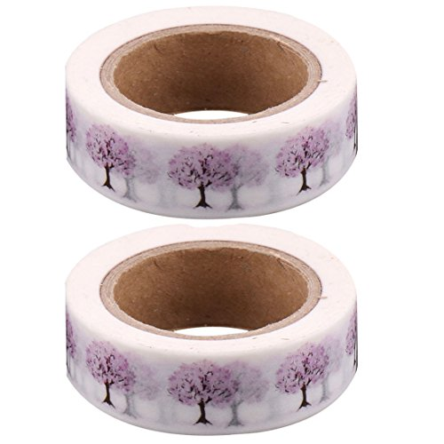 uxcell Washi Paper Tree Pattern Home Bedroom Chair Table Cupboard Decoration Tape 15mm x 10M 2 Pcs