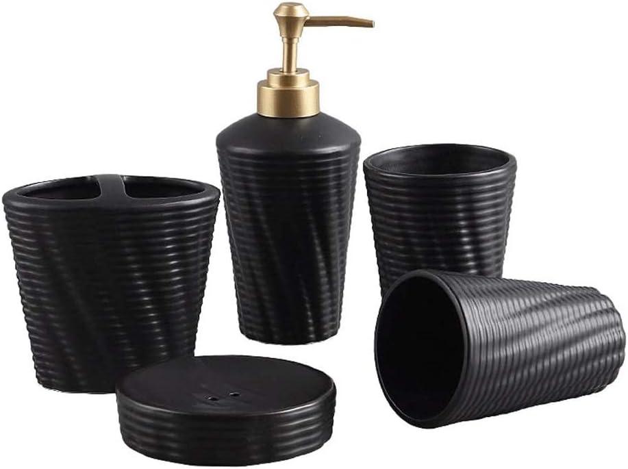 Bomba de jabón líquido para Manos Juego de Accesorios de baño 5 PCS Bath Ensemble Sistema Incluye dispensador de jabón, jabonera, Secadora, Titular Cepillo de Dientes Cerámica r